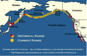 Map of the Pacific Crest Showing Sea Otter Historical and Current Ranges (USGS)